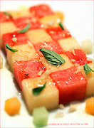 Boston, ma-- June 15, 2005    A dish of fruits with herbs, rice and glaze by   Chef Pino Maffeo of Restaurant L at Louis Boston . photo by essdras m suarez/globe staff    Library Tag 06222005 Food