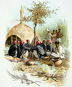 Marchand Mission, French expedition under Jean Baptiste Marchand to prevent British expansion in northeastern Africa. Halting at Bakr-el-Gazal, Sudan, June 1897.   Early Twentieth Century Trade Card