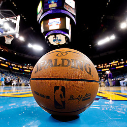 December 8, 2010; New Orleans, LA, USA; A NBA basketball sits on the court prior to tip off of a game between the New Orleans Hornets and the Detroit Pistons at the New Orleans Arena. The NBA is in the process of purchasing the team from owners George Shinn and Gary Chouest.  Mandatory Credit: Derick E. Hingle