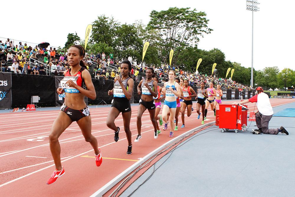 Samsung Diamond League adidas Grand Prix track & field; women's 5000 meters, Meseret Defar, ETH, leads field,