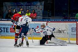01.01.2018, Ice Rink, Znojmo, CZE, EBEL, HC Orli Znojmo vs Fehervar AV 19, 35. Runde, im Bild v.l. Adam Miller (HC Orli Znojmo) Bence Stipsicz (Fehervar AV19) MacMillan Carruth (Fehervar AV19) // during the Erste Bank Icehockey League 35th round match between HC Orli Znojmo and Fehervar AV 19 at the Ice Rink in Znojmo, Czech Republic on 2018/01/01. EXPA Pictures © 2018, PhotoCredit: EXPA/ Rostislav Pfeffer