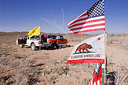 15 APRIL 2005 - NACO, AZ: Minuteman Project volunteers in their observation posts along the Border Road in the desert along the US Mexico border, east of Naco, AZ. The Minuteman Project is a volunteer effort to deter illegal immigrants from entering the US without documentation. The Minuteman volunteers call the Border Patrol when they see undocumented immigrants entering the US. Organizers claim to have thousands of volunteers signing up for the effort. PHOTO BY JACK KURTZ