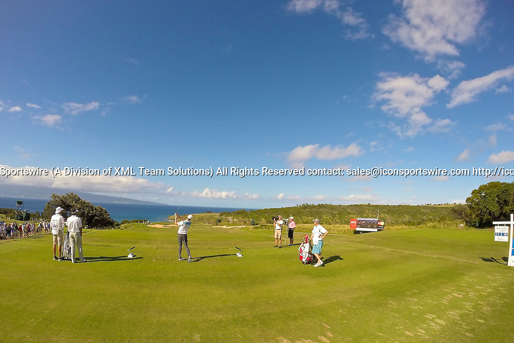 January 09 2015: Chris Kirk tees off on number eleven during the First Round of the Hyundai Tournament of Champions at Kapalua Plantation Course on Maui, HI.