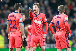 Real Sociedad's Raul Navas, David Zurutuza and Asier Illarramendi have words during La Liga match. Madrid, Spain, on February 10, 2018. Photo by Acero/AlterPhotos/ABACAPRESS.COM