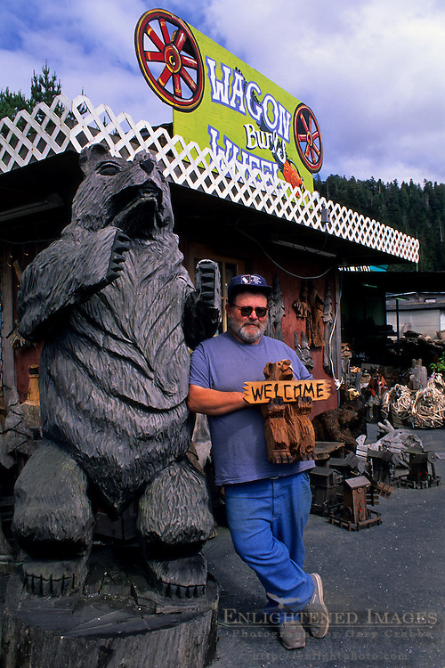 Ron Simmons, owner of the Wagon Wheel Burl Shop in Orick, Humboldt County, CALIFORNIA