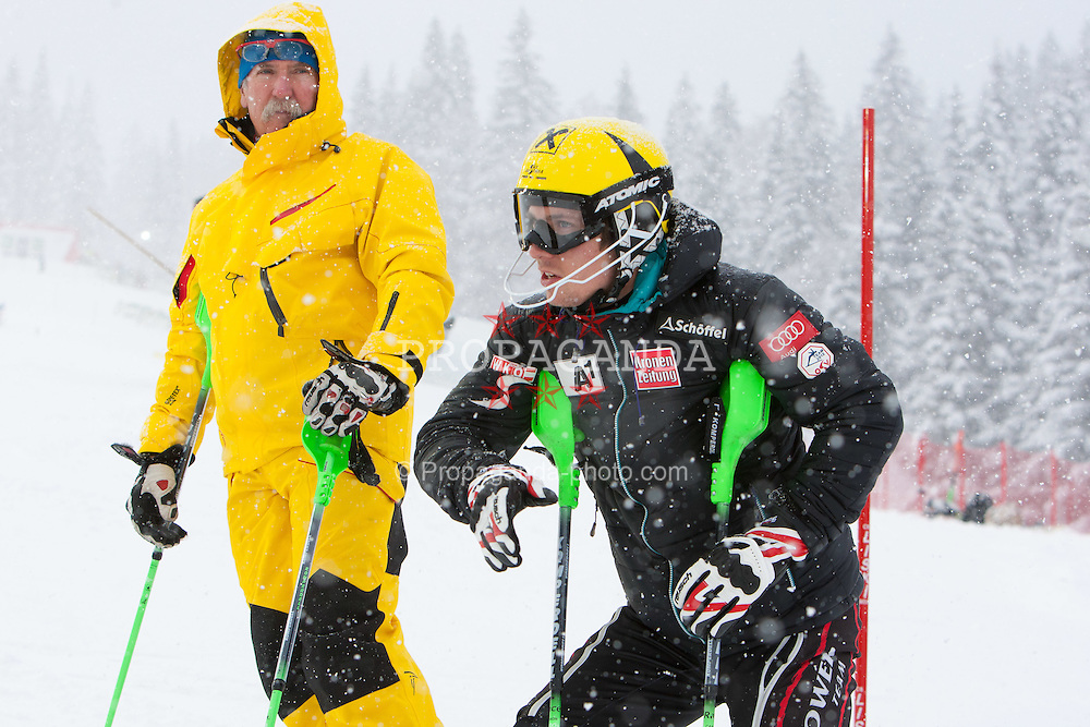 21.12.2011, Hermann Maier Weltcup Strecke, Flachau, AUT, FIS Weltcup Ski Alpin, Herren, Slalom 1. Durchgang, im Bild Marcel Hirscher (AUT)  mit seinem Vater Ferdinand // Ferdinand and Marcel Hirscher (AUT) course inspection before Slalom race 1st run of FIS Ski Alpine World Cup at 'Hermann Maier World Cup' course in Flachau, Austria on 2011/12/21. EXPA Pictures © 2011, PhotoCredit: EXPA/ Johann Groder