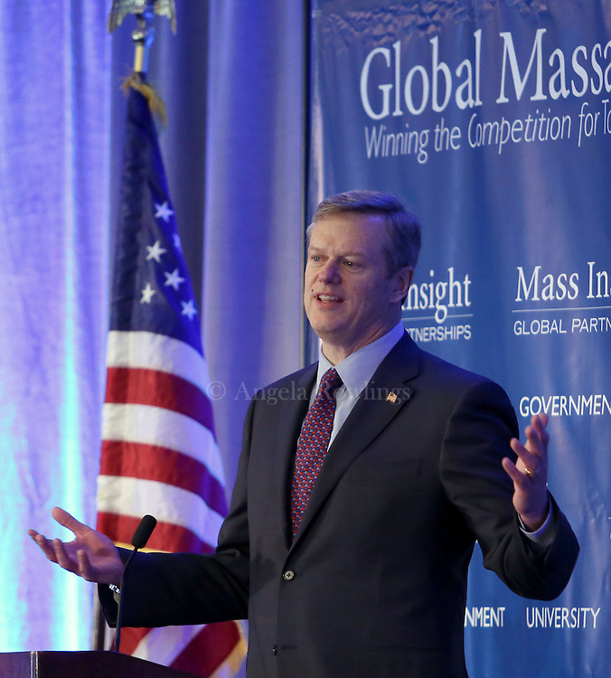 (Boston, MA - 3/11/15) Gov. Charlie Baker delivers the keynote address during the Global Massachusetts 2024 luncheon at the Hyatt Regency Hotel, Wednesday, March 11, 2015. Staff photo by Angela Rowlings.