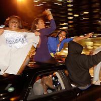 April 2, 2012 - Lexington, Kentucky, USA - University of Kentucky basketball fans celebrate their team's NCAA basketball championship victory over Kansas in Lexington, Ky., on April 2, 2012. (Credit image: © David Stephenson/ZUMA Press)