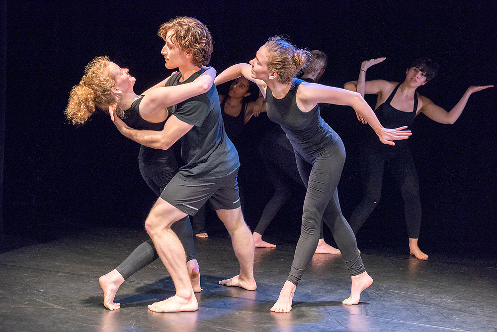 Photography ©Mara Lavitt<br /> April 13, 2018<br /> Crescent Underground Theater, Morse College, Yale University, New Haven<br /> <br /> Dress rehearsal for Yale Dance Theater's 2018 spring project: Paul Taylor early works, led by Paul Taylor 2's rehearsal director Ruth Andrien.