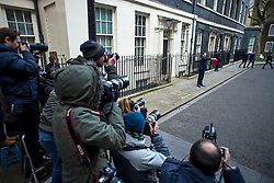 © Licensed to London News Pictures. 16/03/2016. London, UK. Chancellor of the Exchequer George Osborne posing for photographers outside 11 Downing Street before presenting his budget to Parliament on Wednesday, 16 March 2016. Photo credit: Ben Cawthra/LNP