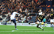 Daniel Johnson strikes during the Sky Bet Championship match between Preston North End and Bolton Wanderers at Deepdale, Preston, England on 31 October 2015. Photo by Pete Burns.