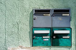 Post boxes on a house in Bauxwiller, Alsace, France<br /> <br /> (c) Andrew Wilson   Edinburgh Elite media