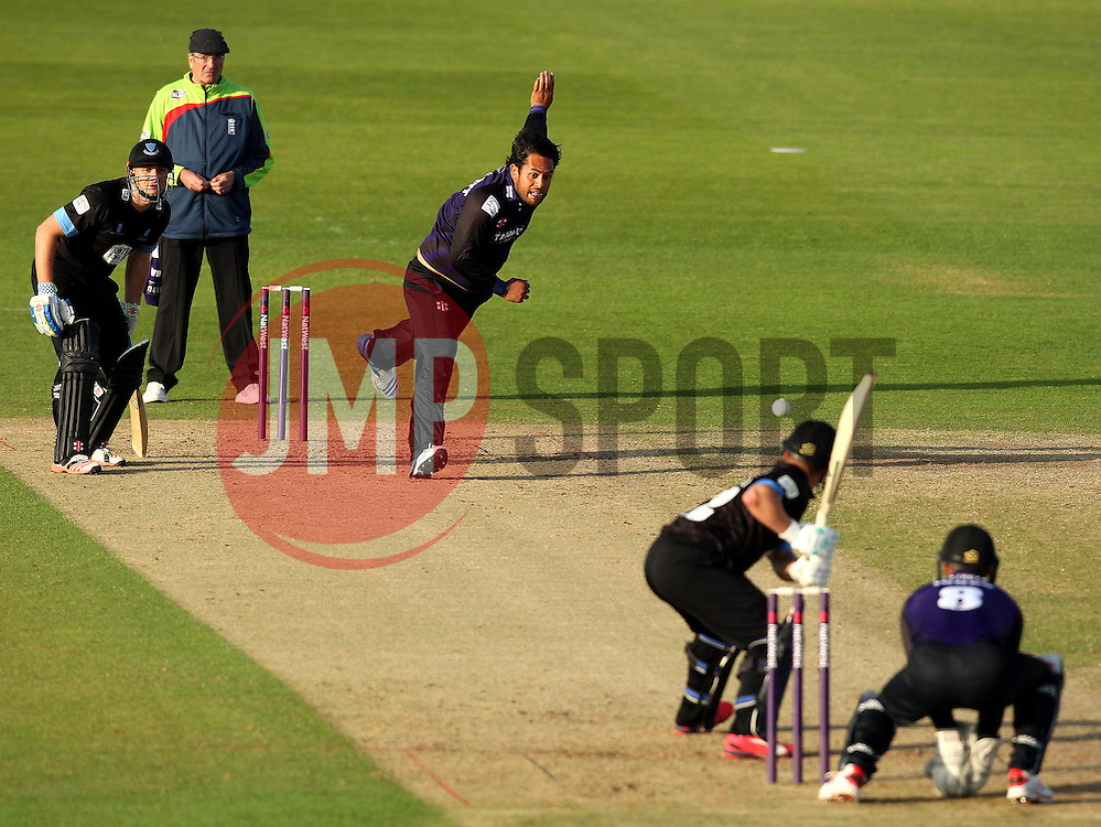 Gloucestershire's Kieran Noema-Barnett bowls to Sussex's Craig Cachopa - Photo mandatory by-line: Robbie Stephenson/JMP - Mobile: 07966 386802 - 26/06/2015 - SPORT - Cricket - Bristol - The County Ground - Gloucestershire v Sussex - Natwest T20 Blast