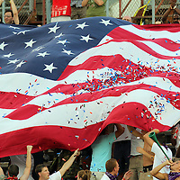 Orlando City Lions soccer fans celebrate with an American flag during a United Soccer League Pro soccer match between the Richmond Kickers and the Orlando City Lions at the Florida Citrus Bowl on May 25, 2011 in Orlando, Florida.  (AP Photo/Alex Menendez)