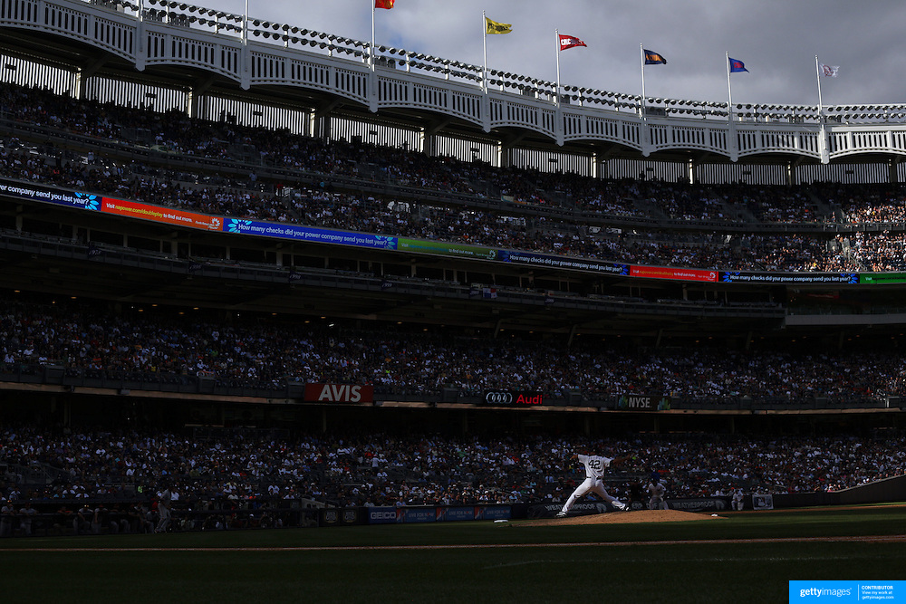 Mariano Rivera, wearing number 42, in action during Mariano Rivera Day at Yankee Stadium.<br />