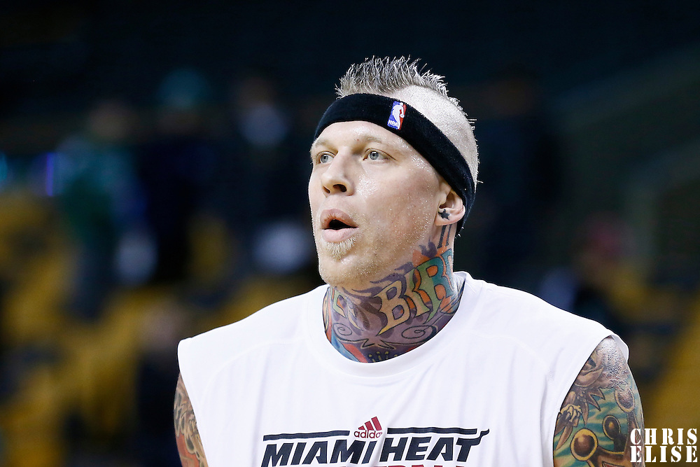 27 January 2013: Miami Heat power forward Chris Andersen (11) warms up prior to the Boston Celtics 100-98  2OT victory over the Miami Heat at the TD Garden, Boston, Massachusetts, USA.