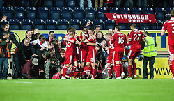 Aberdeen's Vernon celebrates with team mates after after scoring their fifth goal, and the fans cause the boards to fall. Falkirk 0 v 5 Aberdeen, the third round of the Scottish League Cup.<br /> &copy;Michael Schofield.