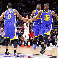 19 November 2015: Golden State Warriors forward Draymond Green (23) is congratulated by Golden State Warriors guard Andre Iguodala (9) during the Golden State Warriors 124-117 victory over the Los Angeles Clippers, at the Staples Center, Los Angeles, California, USA.