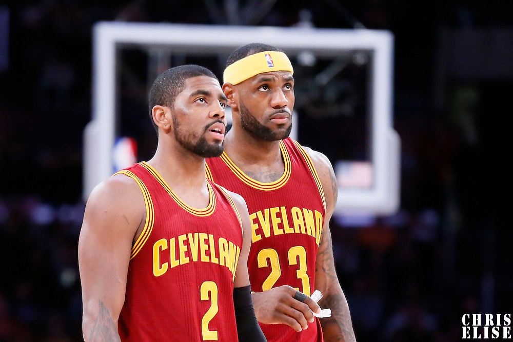15 January 2015: Cleveland Cavaliers forward LeBron James (23) is seen next to Cleveland Cavaliers guard Kyrie Irving (2) during the Cleveland Cavaliers 109-102 victory over the Los Angeles Lakers, at the Staples Center, Los Angeles, California, USA.