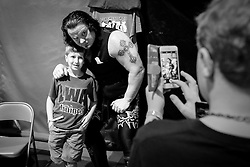 Kevin Thorn poses for photos with fans before the start of Old School Championship Wrestling Sunday, March 13, 2016 at the Hanahan Sports Complex. Paul Zoeller/Staff