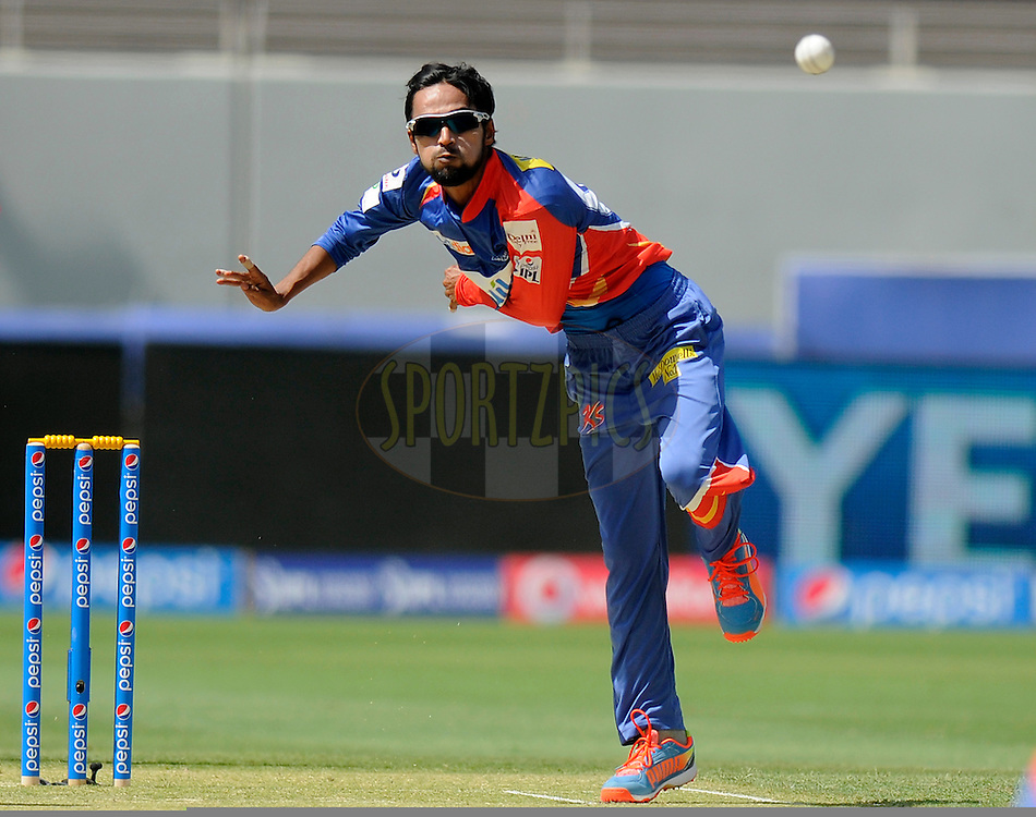 Shahbaz Nadeem of the Delhi Daredevils bowls during match 12 of the Pepsi Indian Premier League Season 7 between the Sunrisers Hyderabad and the Delhi Daredevils held at the Dubai International Stadium, Dubai, United Arab Emirates on the 25th April 2014<br /> <br /> Photo by Pal Pillai / IPL / SPORTZPICS