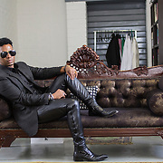 South African fashion designer David Tlale in his studio in Maboneng, Johannesburg. Tuesday 24 March 2015. Johannesburg, South Africa. Copyright Miora Rajaonary. Commissionned by Deutsche Presse-Agentur