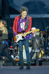Ronnie Wood of The Rolling Stones performs on stage at Murrayfield Stadium in Edinburgh, Scotland.