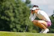 SANDRA GAL lines up a putt on the 9th green at the LPGA Championship at Monroe Golf Club in Pittsford, New York on August 17, 2014.