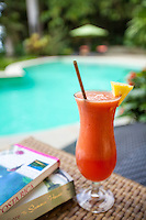 Tropical drink by the pool at Latitude 10 Resort, Santa Teresa, Costa Rica