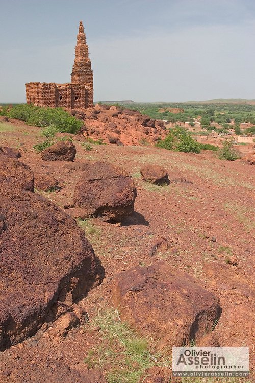 Sudanese-style mud-brick mosque in Bani, Northeastern Burkina Faso, West Africa.