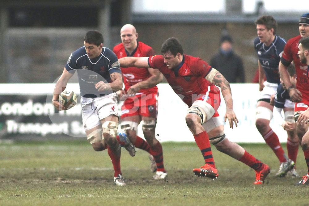 Chris Walker of London Scottish in action during the Green King IPA Championship match between London Scottish &amp; Bristol at Richmond, Greater London on 7th February 2015<br /> <br /> Photo: Ken Sparks | UK Sports Pics Ltd<br /> London Scottish v Bristol, Green King IPA Championship, 7th February 2015<br /> <br /> &copy; UK Sports Pics Ltd. FA Accredited. Football League Licence No:  FL14/15/P5700.Football Conference Licence No: PCONF 051/14 Tel +44(0)7968 045353. email ken@uksportspics.co.uk, 7 Leslie Park Road, East Croydon, Surrey CR0 6TN. Credit UK Sports Pics Ltd