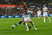 Jack Harrison (22) of Leeds United during the EFL Sky Bet Championship match between Swansea City and Leeds United at the Liberty Stadium, Swansea, Wales on 21 August 2018.