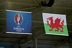 LENS, FRANCE - Thursday, June 16, 2016: Wales and Euro 2016 flags before the UEFA Euro 2016 Championship Group B match against England at the Stade Bollaert-Delelis. (Pic by David Rawcliffe/Propaganda)