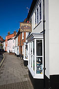 Houses and shops in historic buildings of New Street, Woodbridge, Suffolk, England