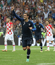 MOSCOW, July 15, 2018  Antoine Griezmann (front) of France celebrates scoring during the 2018 FIFA World Cup final match between France and Croatia in Moscow, Russia, July 15, 2018. (Credit Image: © Cao Can/Xinhua via ZUMA Wire)