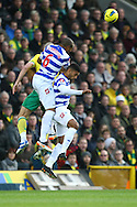 Picture by Paul Chesterton/Focus Images Ltd.  07904 640267.26/11/11.Steve Morison of Norwich and Danny Gabbidon of QPR in action during the Barclays Premier League match at Carrow Road Stadium, Norwich.