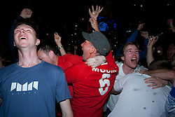 © under license to London News Pictures. 11/06/12. England fans  celebrating England's goal against France in the UEFA European Championship In a bar in Brighton. XAVIER ITTER/LNP