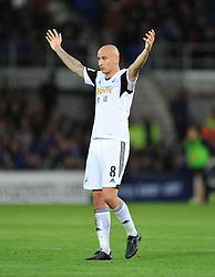 Swansea City's Jonjo Shelvey - Photo mandatory by-line: Alex James/JMP - Tel: Mobile: 07966 386802 03/11/2013 - SPORT - FOOTBALL - The Cardiff City Stadium - Cardiff - Cardiff City v Swansea City - Barclays Premier League