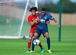 KIRKBY, ENGLAND - Saturday, January 26, 2019: Liverpool's Yasser Larouci (L) and Manchester United's Anthony Elanga during the FA Premier League match between Liverpool FC and Manchester United FC at The Academy. (Pic by David Rawcliffe/Propaganda)
