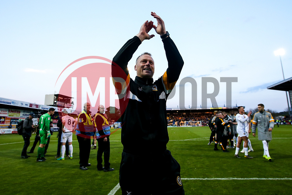 Newport County manager Michael Flynn celebrates after winning through to the Sky Bet League Two Playoff Final - Mandatory by-line: Robbie Stephenson/JMP - 12/05/2019 - FOOTBALL - One Call Stadium - Mansfield, England - Mansfield Town v Newport County - Sky Bet League Two Play-Off Semi-Final 2nd Leg