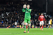 Aynsley Pears (42) of Middlesbrough  applauds the travelling fans at full time during the EFL Sky Bet Championship match between Fulham and Middlesbrough at Craven Cottage, London, England on 17 January 2020.