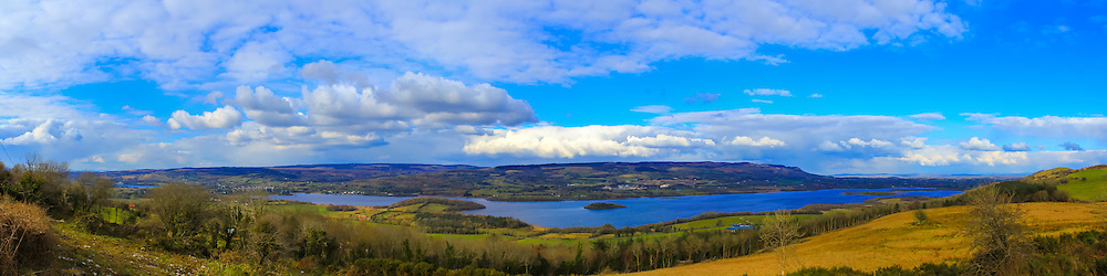 View overlooking Lower Lough Macnean from Marlbank viewpoint including, from left, Upper Lough Macnean, Belcoo, Corry Point, Inis Island, Drumlin, Belmore Mountain and Cushrush Island