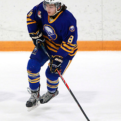 AURORA, ON - Feb 21 : Ontario Junior Hockey League Game Action between the Buffalo Jr. Sabres and the Aurora Tigers, Tony Devito #8 of the Buffalo Junior Sabres Hockey Club .<br /> (Photo by Brian Watts / OJHL Images)