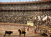 Bull Fight, Barcelona, Spain, Late 19th/early 20th century.  A Picador is confronting the bull. A dead horse, gored by the bull, lies in right corner. Stadium Arena Spectator Tradition Blood Sport Tradition Ceremony Photochrome