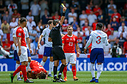 England defender Danny Rose (Tottenham) receives a yellow card for a foul on Switzerland  defender Kevin Mbabu (2) during the UEFA Nations League 3rd place play-off match between Switzerland and England at Estadio D. Afonso Henriques, Guimaraes, Portugal on 9 June 2019.