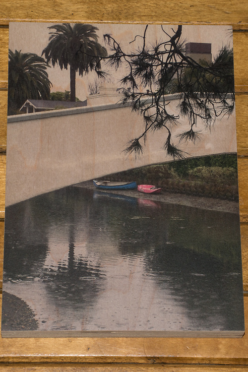 'Rainy Venice Day' photograph printed on maple wood.