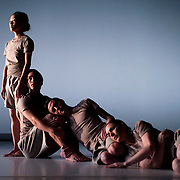 "April 5, 2012 - New York, NY : From left, CC Chang, James McGinn, Adam H. Weinert, and Sara Procopio perform in Jonah Bokaer and Davide Balliano's ""Metro Repitition"" during a dress rehearsal of The Baryshnikov Arts Center and The Watermill Center's presentation of ""On The Beach,"" inspired by -- and to celebrate the 35th anniversary of -- the Robert Wilson and Philip Glass opera ""Einstein on the Beach"" at the Baryshnikov Arts Center in Manhattan on Thursday night.  CREDIT : Karsten Moran for The New York Times"