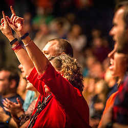 Lisa Johnston | lisajohnston@archstl.org | Twitter: @aeternusphoto<br /> Lynn Hunt Ewy raised her hands as she listened to Matt Maher in concert. <br /> One Faith Experience featured a lineup of Catholic all-star speakers, including Teresa Tomeo, Hector Molina, Father Larry Richards, Deacon Harold Burke-Sivers and Tim Staples. The day of evangelization ended with a concert featuring Catholic artists Matt Maher.