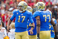 17 October 2012: Quarterback (17) Brett Hundley of the UCLA Bruins reacts after Jonathan Franklin scores a touchdown against the USC Trojans during the first half of UCLA's 38-28 victory over USC at the Rose Bowl in Pasadena, CA.