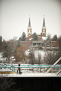 Snow blankets the Gonzaga campus. (Photo by Gonzaga University)